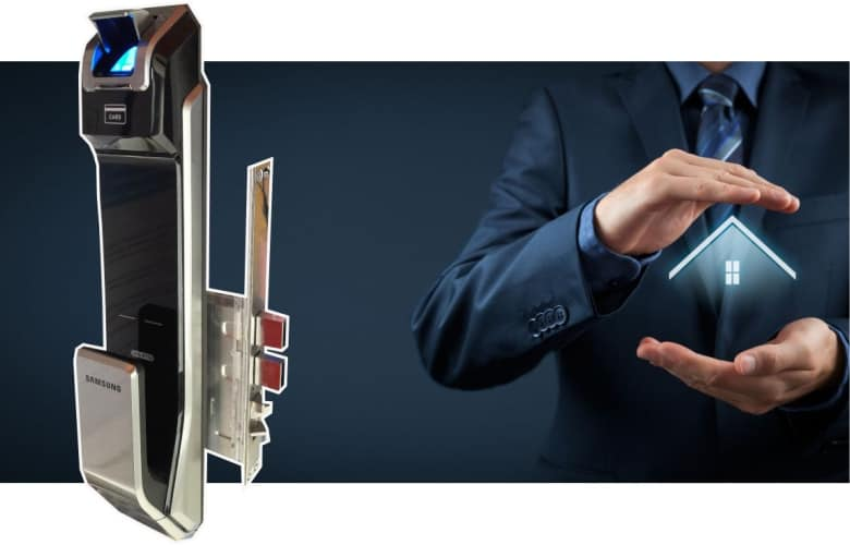 puerta de seguridad con huella o biometrica